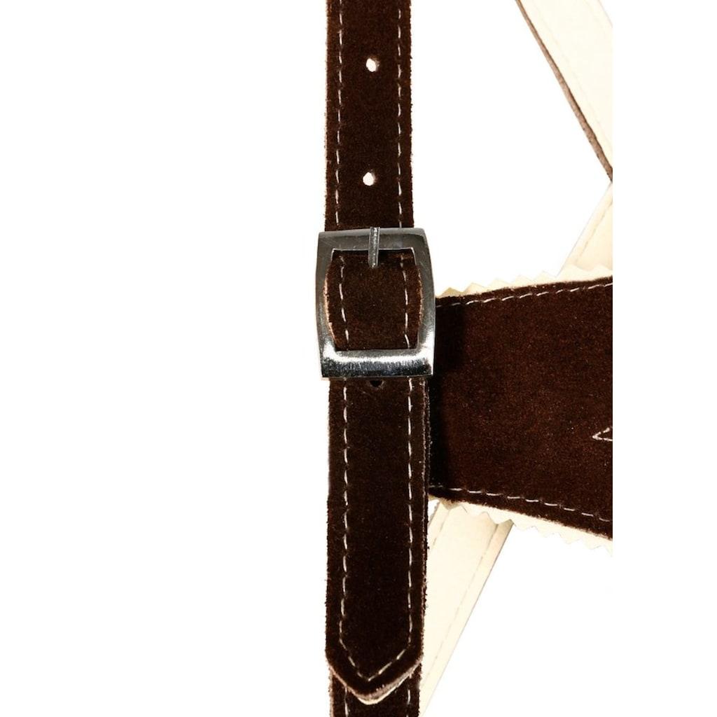 MarJo Trachtenlederhose, (2 tlg., mit Hosenträgern), Kinder mit Stickerei