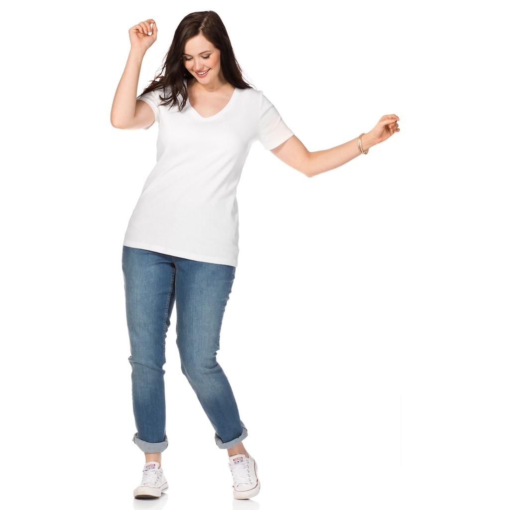 Sheego T-Shirt, mit V-Ausschnitt