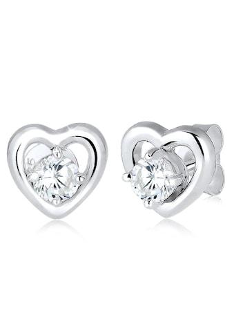 Elli Paar Ohrstecker »Herzen, 0308582616«, mit abnehmbaren Herz-Einhängern, Zirkonia kaufen