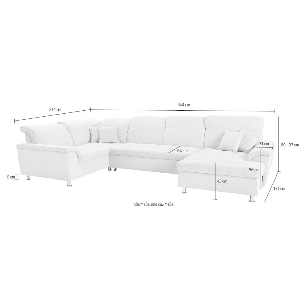 DOMO collection Wohnlandschaft, wahlweise mit Bettfunktion, Bettkasten und Kopfteilverstellung, Recamiere links oder rechts bestellbar, frei im Raum stellbar
