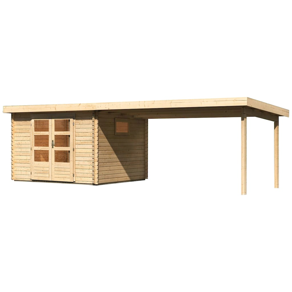 WOODFeeling Gartenhaus »Trittau 3«, mit Anbaudach