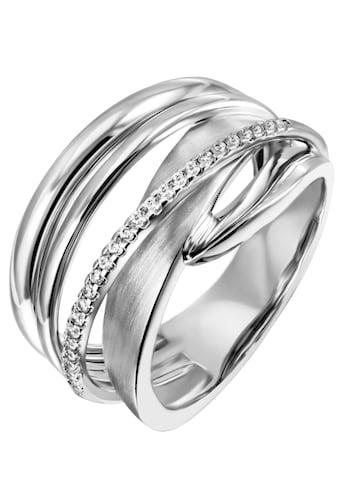 Firetti Silberring »mehrreihig, teilweise verschlungen, rhodiniert«, mit Zirkonia kaufen