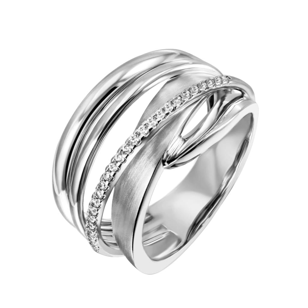 Firetti Silberring »mehrreihig, teilweise verschlungen, rhodiniert«, mit Zirkonia