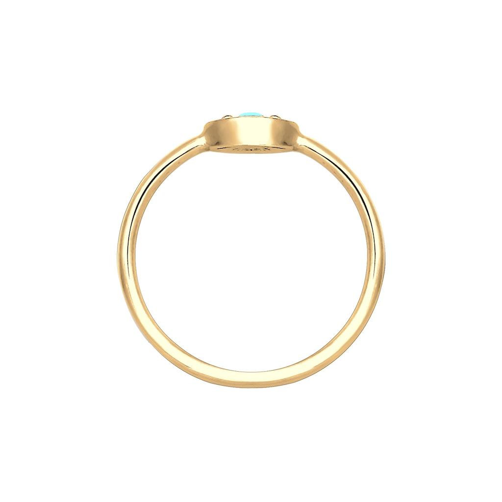 Elli Fingerring »Evil Eye Talisman Symbol mit Türkis 925 Silber«
