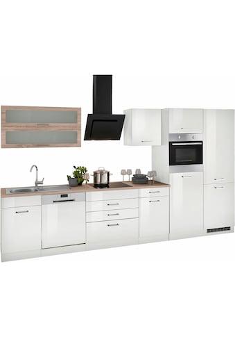 HELD MÖBEL Küchenzeile »Utah«, mit E - Geräten und großer Kühl -  Gefrierkombination, Breite 360 cm mit Metallgriffen kaufen