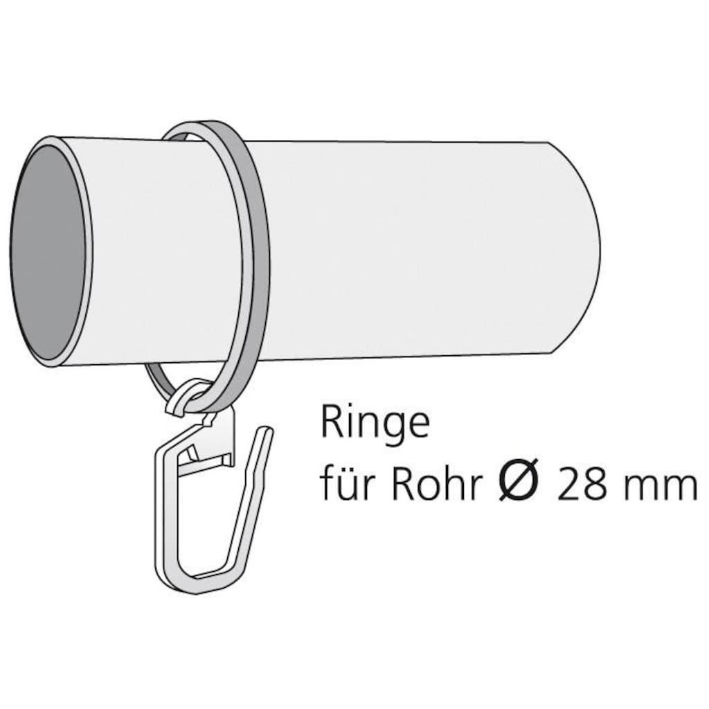 Liedeco Gardinenring, (Packung, 10 St., mit Faltenlegehaken), für Gardinenstangen Ø 28 mm