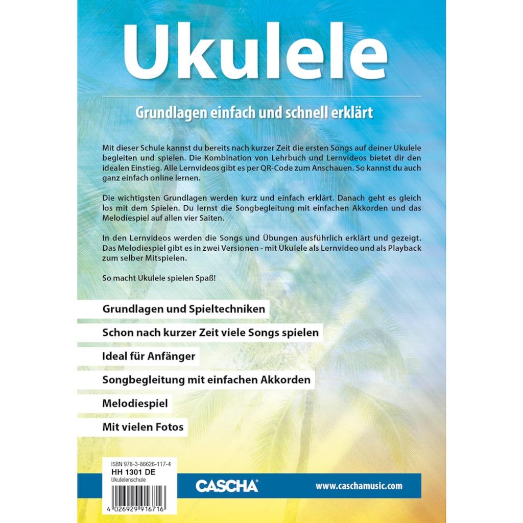 Cascha Ukulele »Sopran, Schwarz«, mit Tasche, Übungsheft, Plektren und Stimmgerät