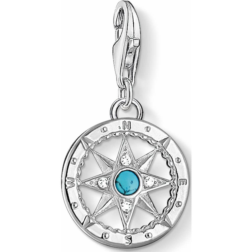 THOMAS SABO Charm-Einhänger »Kompass, 1228-405-17«, mit Zirkonia und Türkis