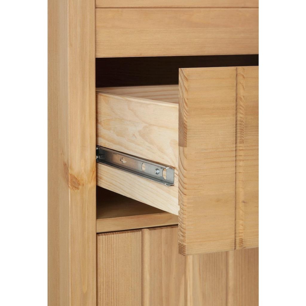 Home affaire Hochschrank »Westa«, Breite 62 cm, Badezimmerschrank aus Massivholz, Kiefernholz, Metallgriffe, 4 Türen, 1 Schublade, mit gefrästen Fronten