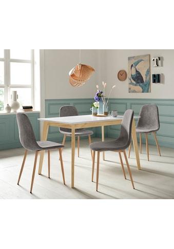 Homexperts Essgruppe »Kaitlin Tischgruppe« (Set, 5 - tlg bestehend aus Esstisch »Kailtin« Breite 120 cm und 4 Stühlen Bezug in Cord) kaufen
