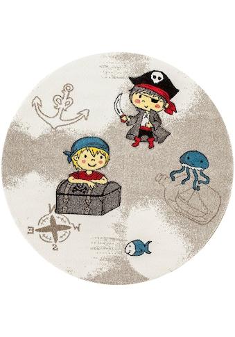 Festival Kinderteppich »Momo Pirat«, rund, 13 mm Höhe, Seeräuber und Piraten Motiv kaufen