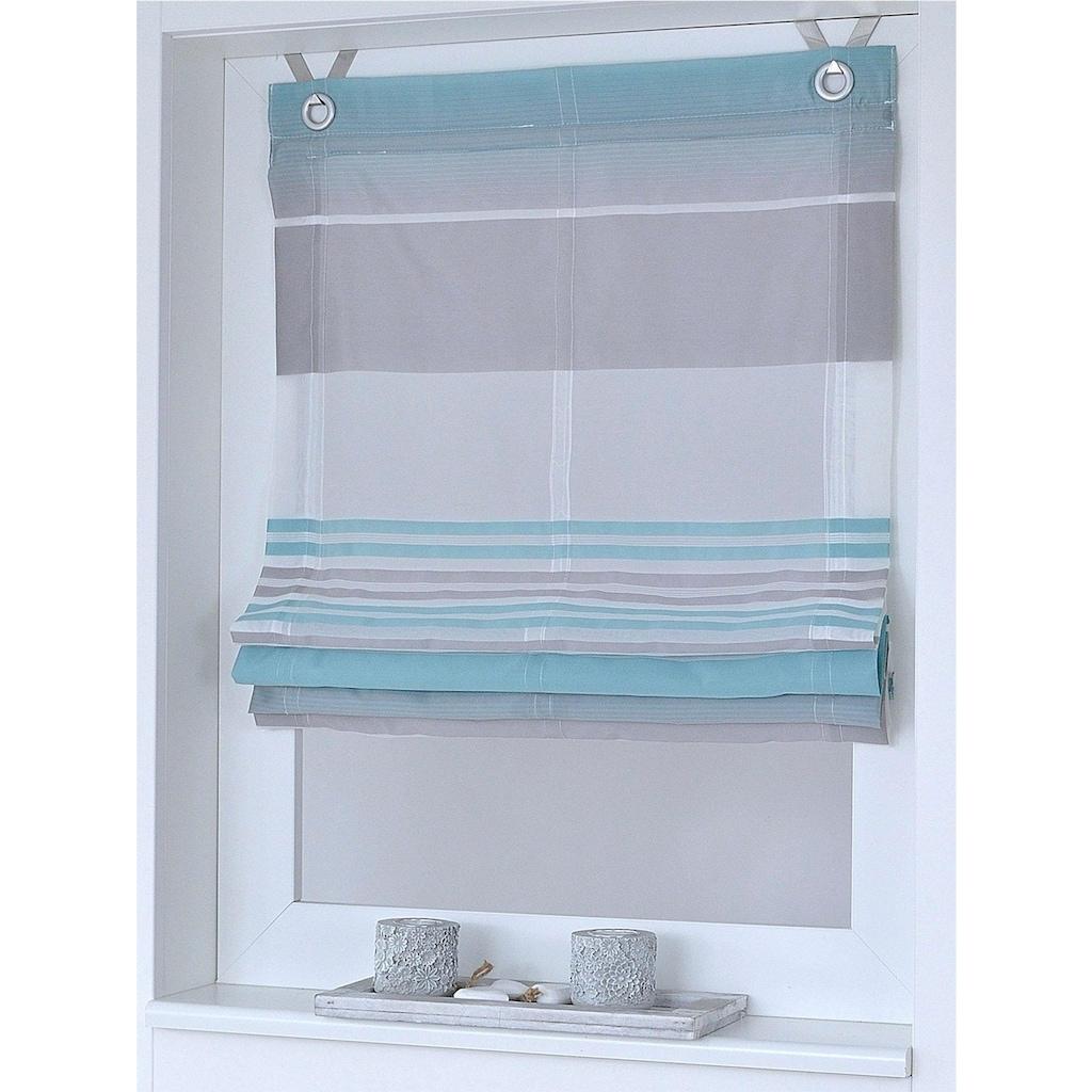 Kutti Raffrollo »Jamaica«, mit Hakenaufhängung, ohne Bohren, freihängend, mit Ösen, incl. Fensterhaken