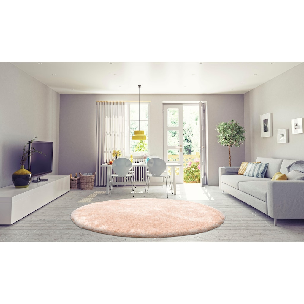 Bruno Banani Hochflor-Teppich »Alga«, rund, 40 mm Höhe, Wohnzimmer