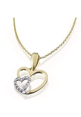 goldmaid Collier Herzen Bicolor 375 Gelbgold 1 Diamant 0,01 ct. kaufen