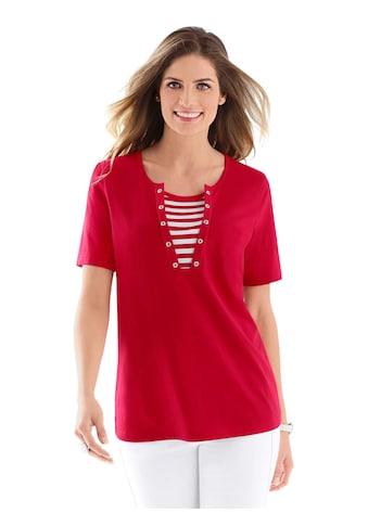 Classic Basics Shirt mit flott gestreiftem Einsatz am Ausschnitt kaufen