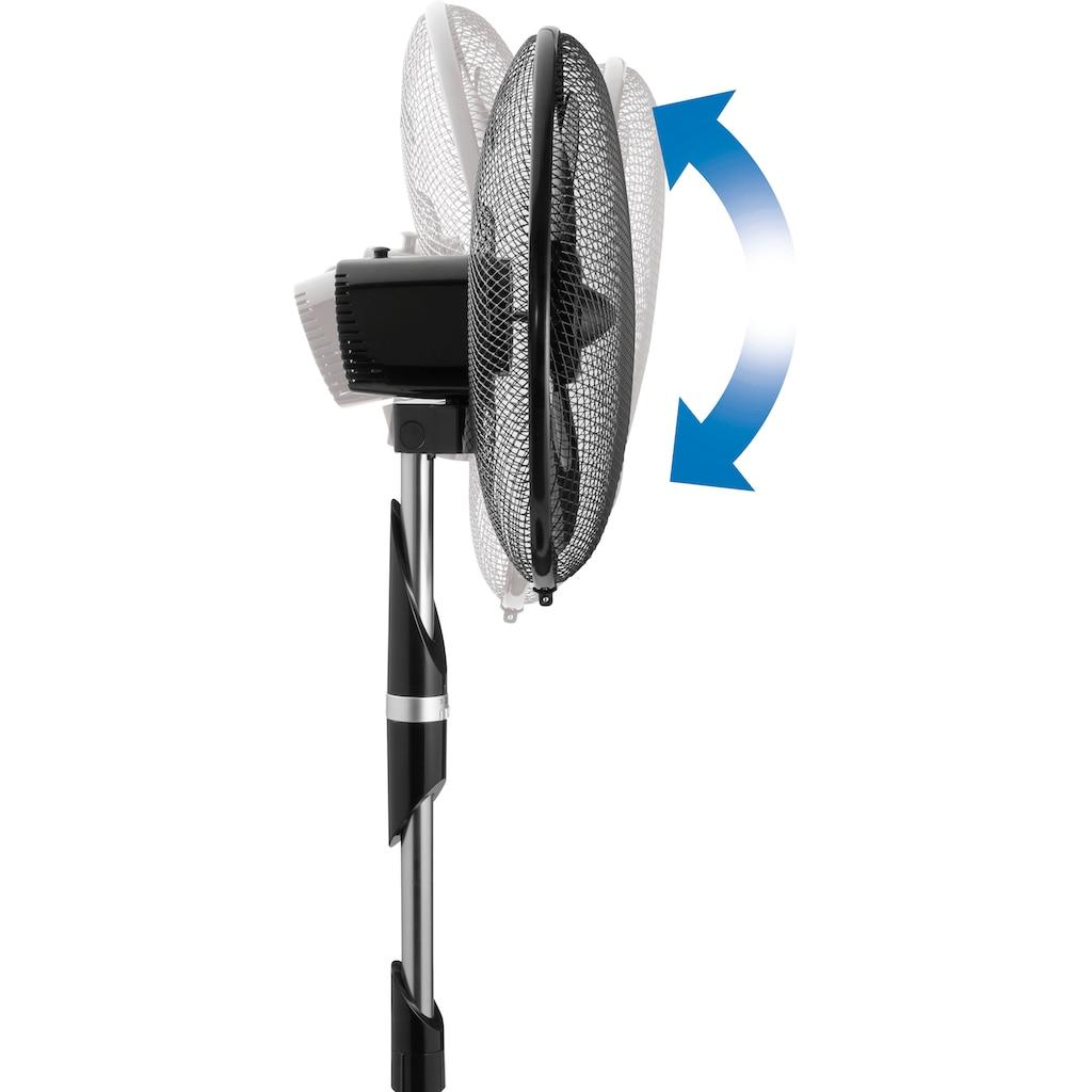bestron Standventilator »ASF40DZ«, mit Schwenkfunktion und integriertem Steuerungsring, 3 Geschwindigkeitsstufen, horizontale Oszillation um 80°, variables Stativ, Höhe: 135 cm, Ø 45 cm, 55 W, Schwarz