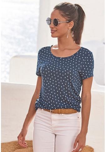LASCANA T-Shirt, mit süßem Blätter-Druck und Cut-Out im Nacken kaufen
