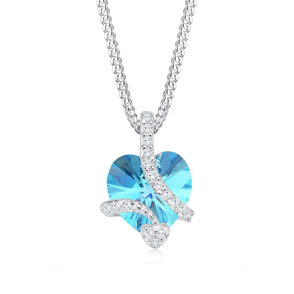 Elli Collierkettchen »Herz aus Kristalle Edel 925 Silber«