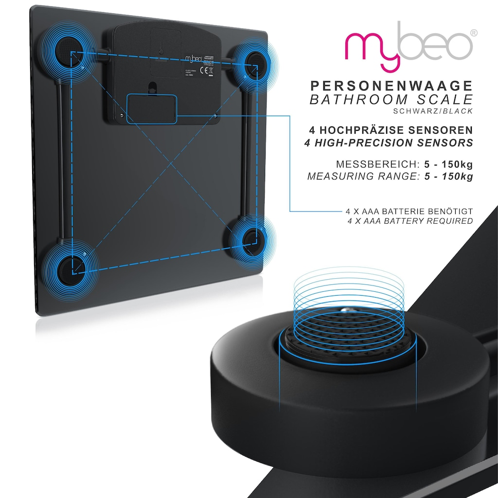 MyBeo Digital Glaskörperwaage »Personenwaage mit 4xDMS Mess-Sensoren / Max. 150kg«