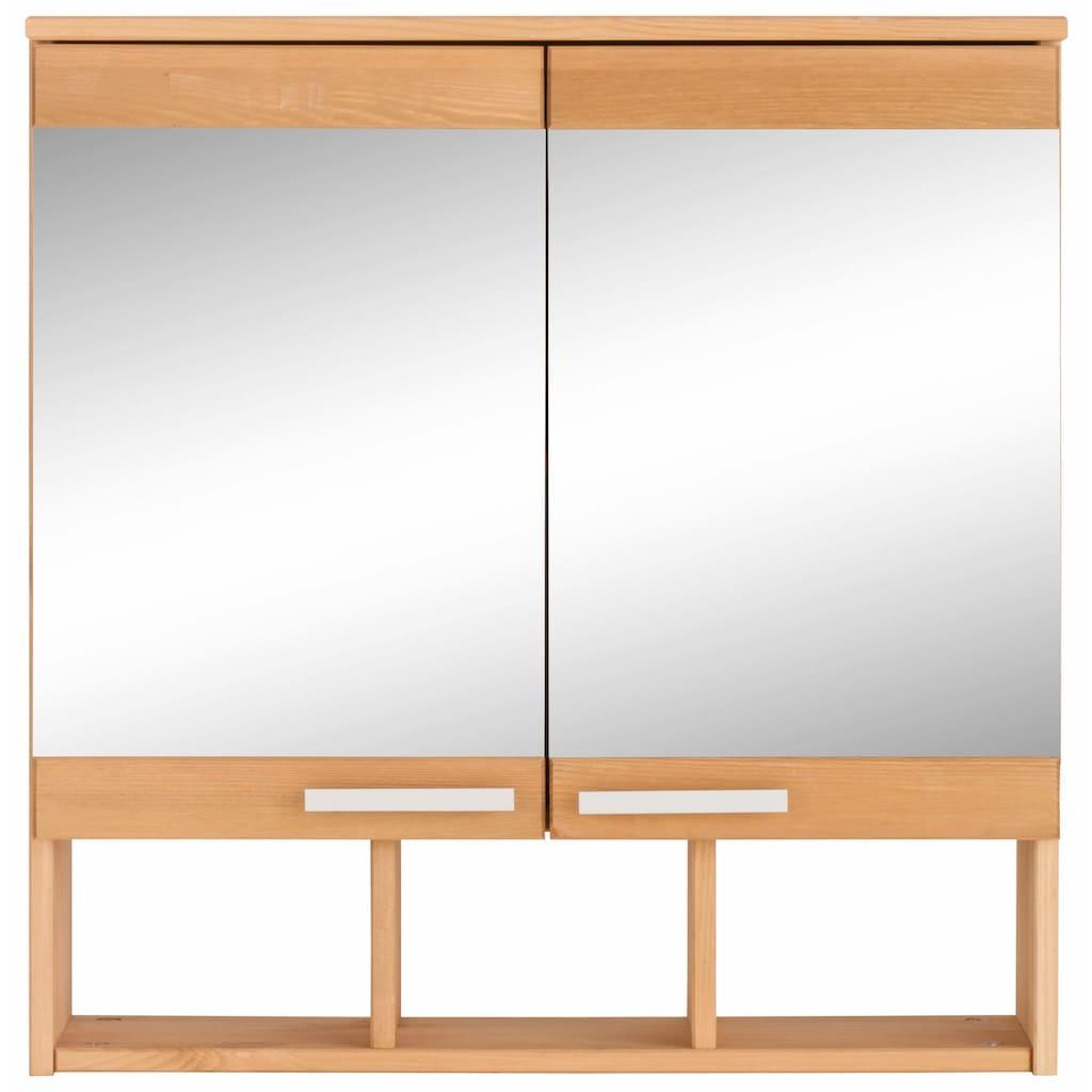 Home affaire Spiegelschrank »Josie«, Breite 60 cm, aus Massivholz, verstellbarer Einlegeboden, Metallgriffe