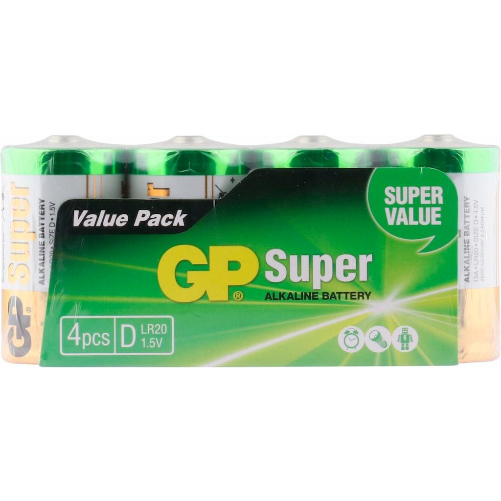 GP Batteries Batterie »Super Alkaline D«, LR20, 1,5 V, (Set, 4 St.)