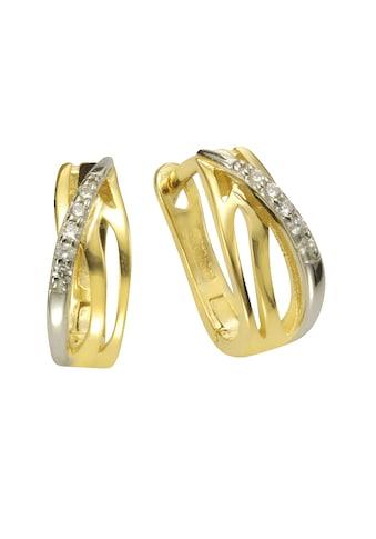 Zeeme Paar Creolen »925/- Sterling Silber vergoldet mit Zirkonia«, mit Geschenketui kaufen