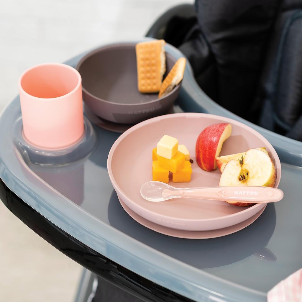 Nattou Kindergeschirr-Set »Silicon, Esslern-Set, Rosa/Aubergine«, (Set, 4 tlg.)