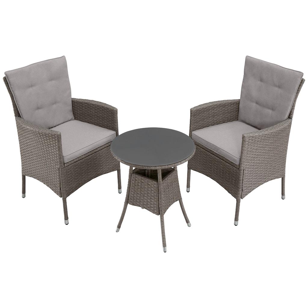 KONIFERA Gartenmöbelset »Mailand«, 7-tlg., 2 Sessel, Tisch Ø 50 cm, Polyrattan