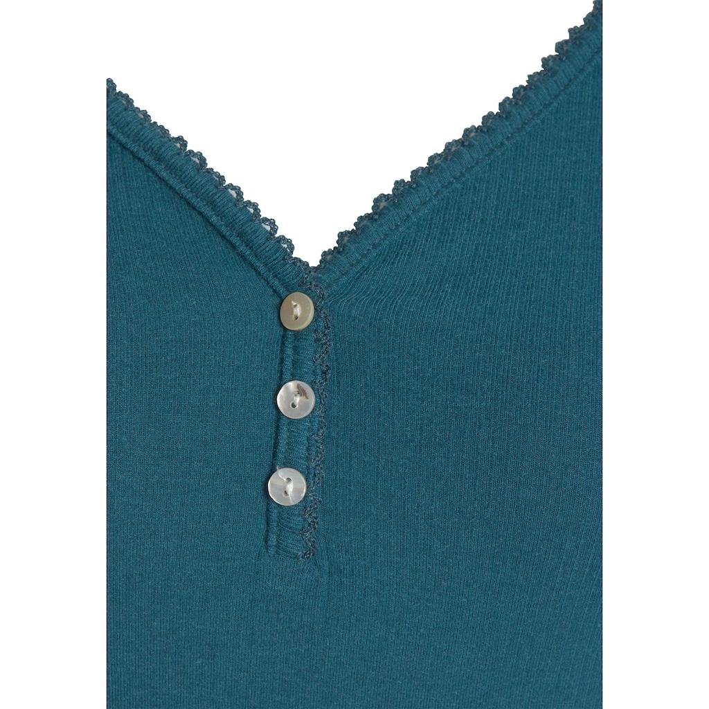 s.Oliver Langarmshirt, aus geripptem Stoff mit Knopfleiste