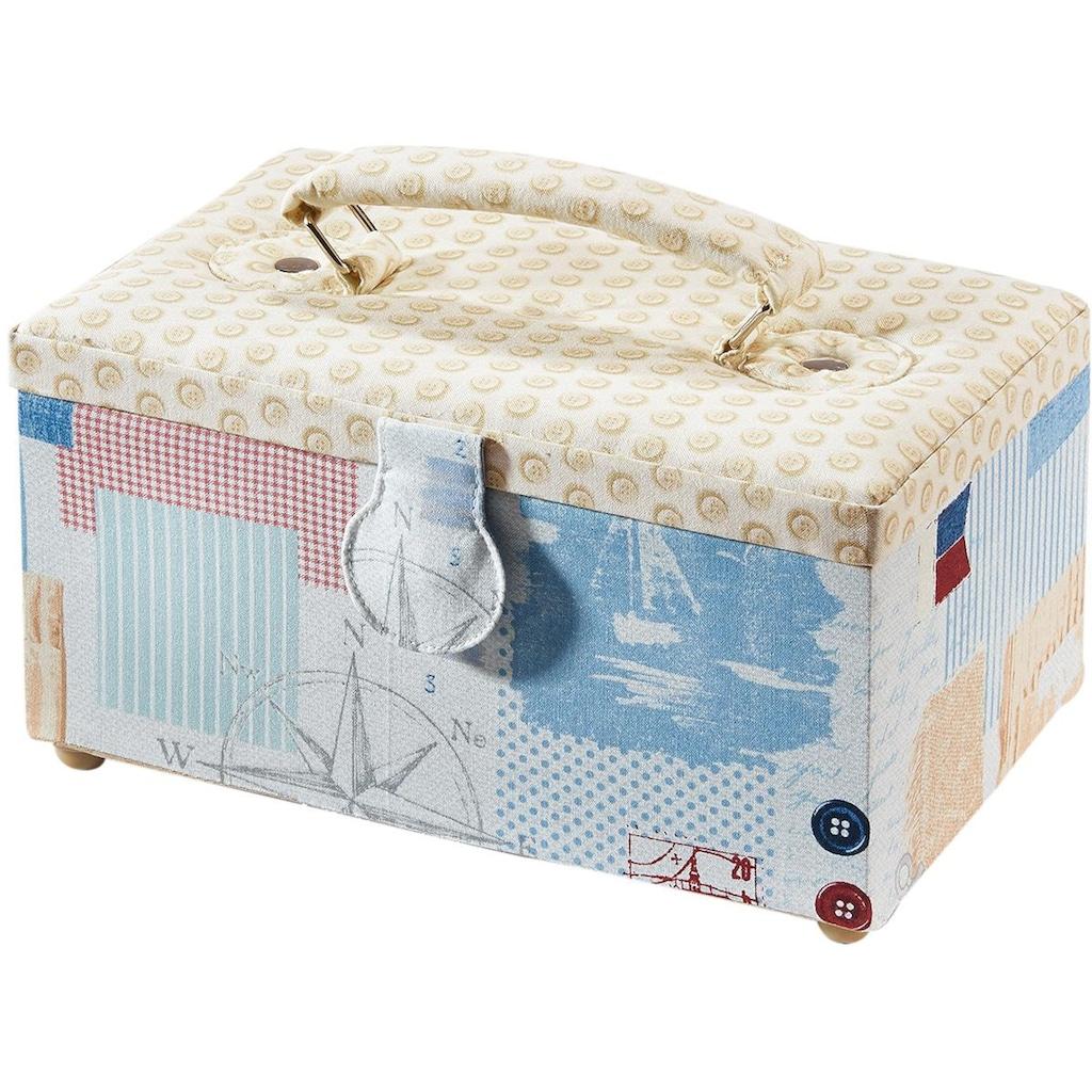 locker Nähkästchen, rechteckig, Textil mit Knopfmuster und Griff aus Stoff