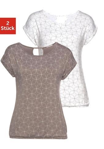 LASCANA T-Shirt, mit kleinem Cut-Out im Nacken kaufen