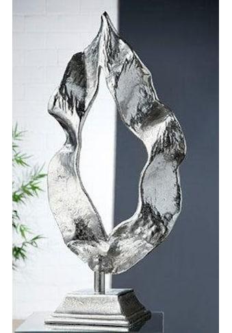 GILDE Dekoobjekt »Skulptur Flamme, silberfarben«, Höhe 56 cm, aus Metall, Wohnzimmer kaufen