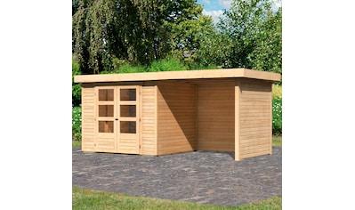 KARIBU Set: Gartenhaus »Arnis 3«, BxT: 491x238 cm, mit Anbaudach kaufen