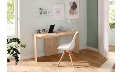 Home affaire Schreibtisch »Baumwall«, aus Eiche massiv, Große Arbeitsplatte, Designed... kaufen