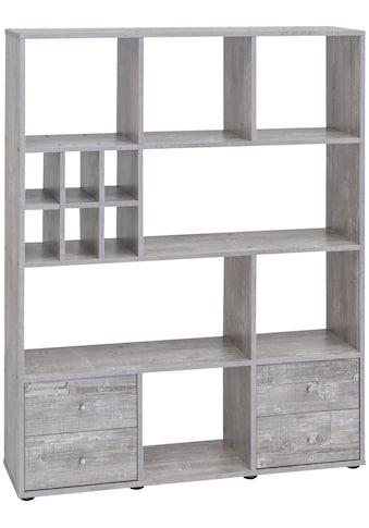 Raumteiler - Regal , Breite 104 cm, mit 4 Schubladen und 13 Fächern kaufen