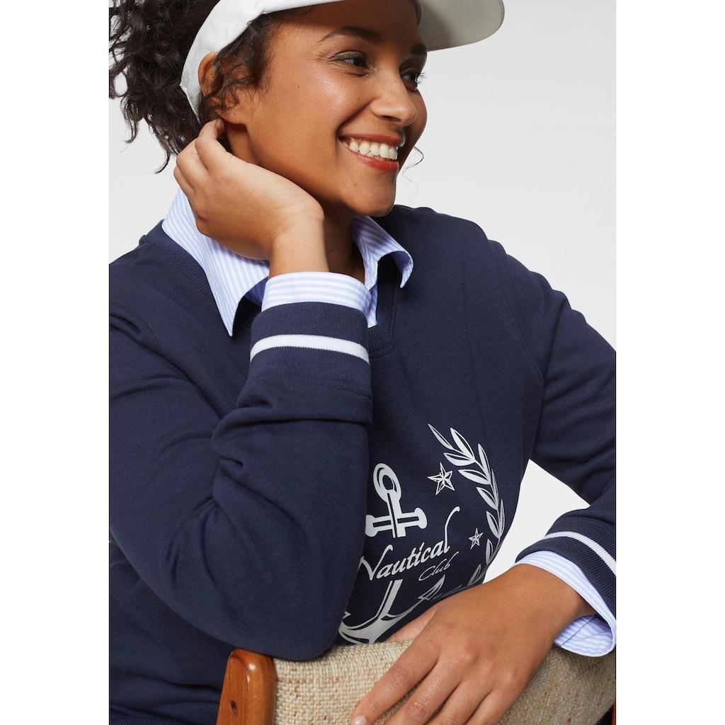 TOM TAILOR Polo Team Sweatshirt, mit gestreiften Rippbündchen an Saum und Ärmelsaum