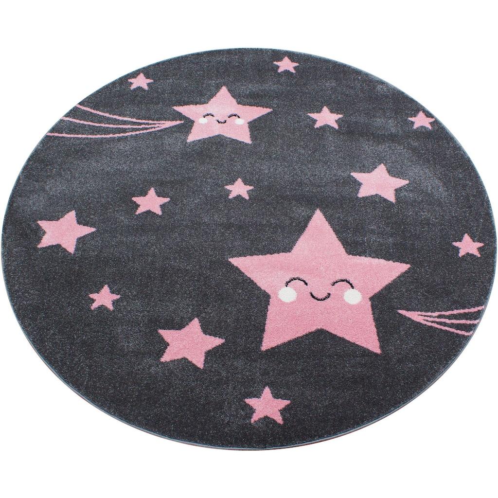 Ayyildiz Kinderteppich »Kids 610«, rund, 12 mm Höhe, Sterne Motiv, Kurzflor