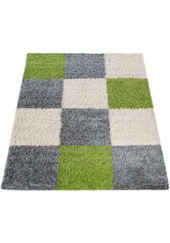 Paco Home Hochflor-Teppich »Mango 316«, rechteckig, 35 mm Höhe, Shaggy, kariertes... kaufen