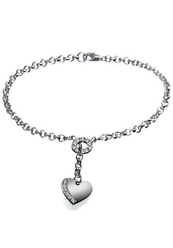 goldmaid Silberarmband, 925/- Sterlingsilber Herz klare Steine kaufen