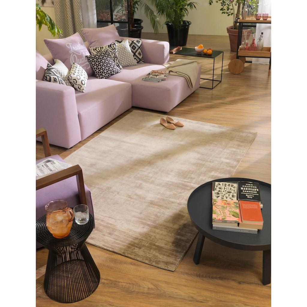 TOM TAILOR Teppich »Shine uni«, rechteckig, 8 mm Höhe, Vintage Design, mit elegantem Schimmer, Wohnzimmer