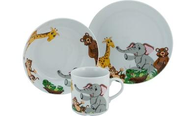CreaTable Kindergeschirr-Set »Zoo«, (Set, 3 tlg.), Dekor mit lustigen Zoobewohnern kaufen