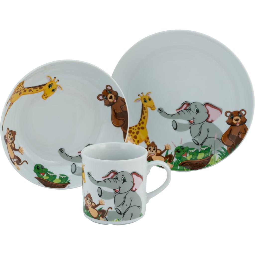 CreaTable Kindergeschirr-Set »Zoo«, (Set, 3 tlg.), Dekor mit lustigen Zoobewohnern