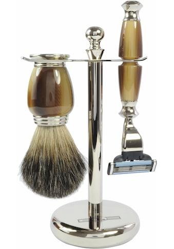 Golddachs Rasierset »Galalith Rasierset«, mit Rasierer (Mach3) und Pinsel (Stockhaar) kaufen