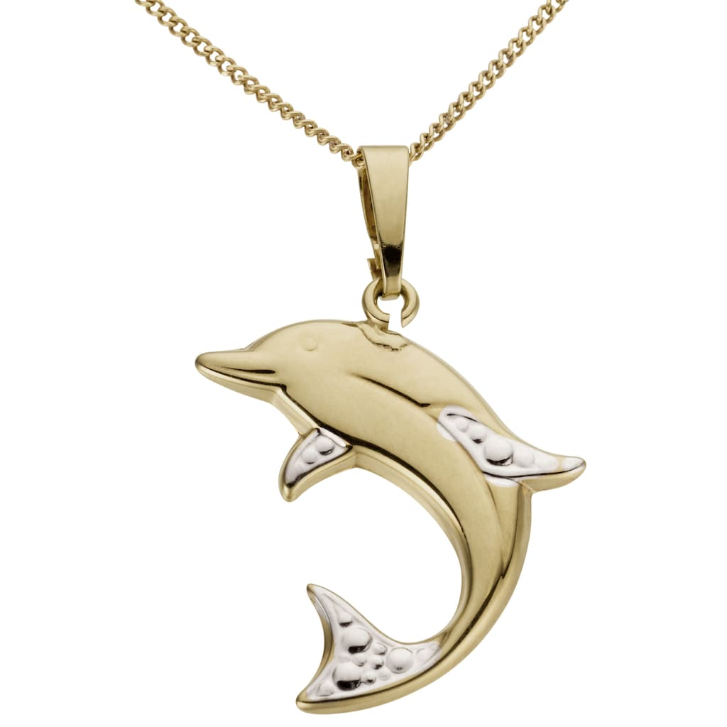 Firetti Kettenanhänger »Delfin, glänzend, in teilweise rhodinierter Optik«, Made in Germany