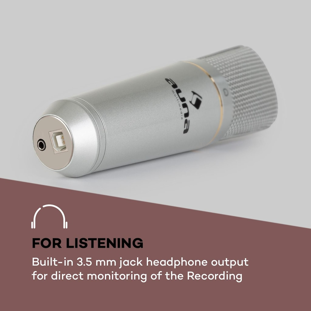 Auna USB Kondensatormikrofon USB Kopfhörerausgang Plug