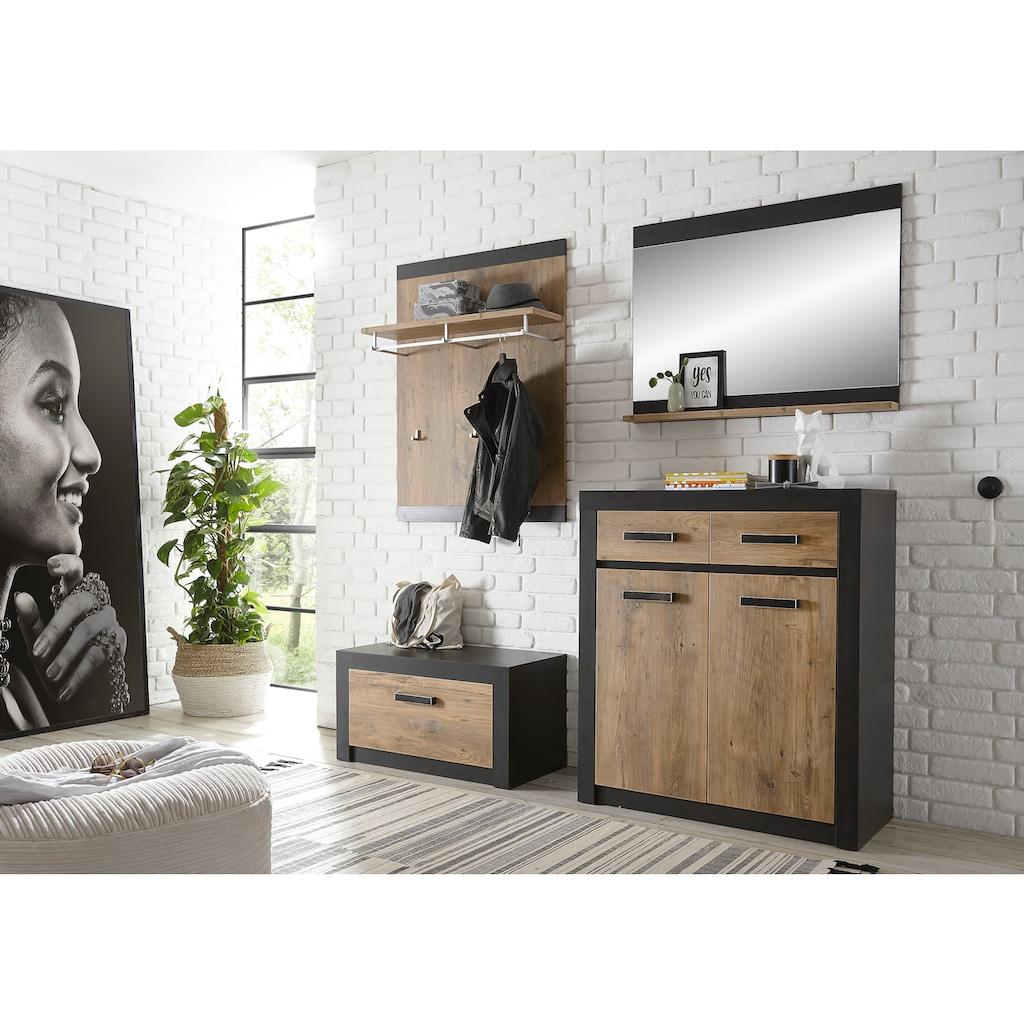 my home Garderoben-Set »BRÜGGE«, (Komplett-Set, 4 St., bestehend aus Garderobenbank und -paneel, Kommde, Spiegel), mit einer dekorativen Rahmenoptik