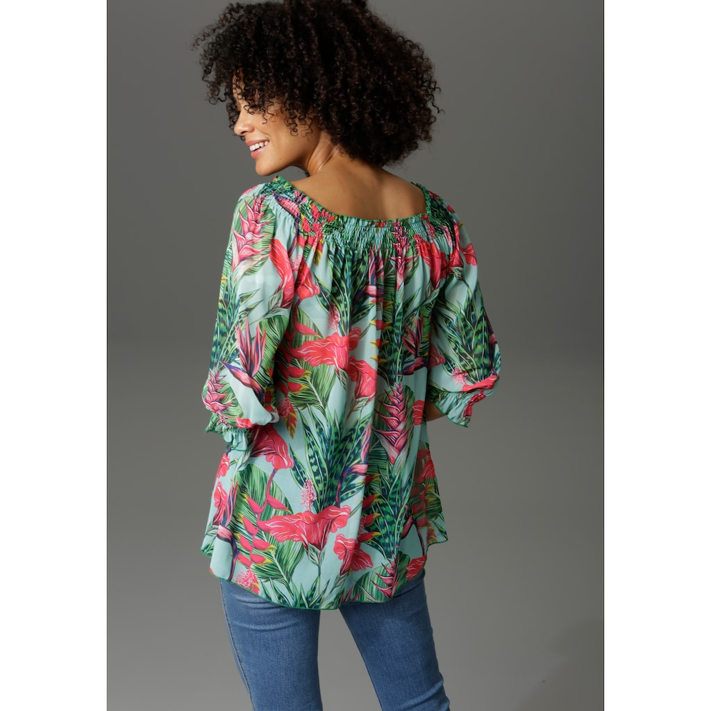 Aniston CASUAL Carmenbluse, mit Dschungel-Print
