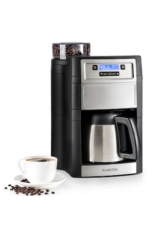 Klarstein Kaffeemaschine mit Mahlwerk »Aromatica II Thermo«, goldfarbener Permanentfilter, Mahlwerk 1,25 l silber kaufen