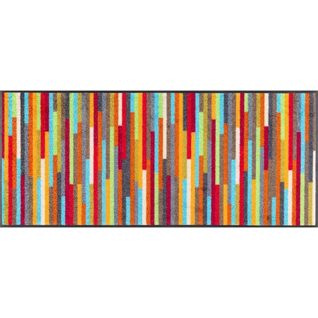 wash+dry by Kleen-Tex Teppich »Mikado Stripes«, rechteckig, 7 mm Höhe, In- und Outdoor geeignet, waschbar, Wohnzimmer