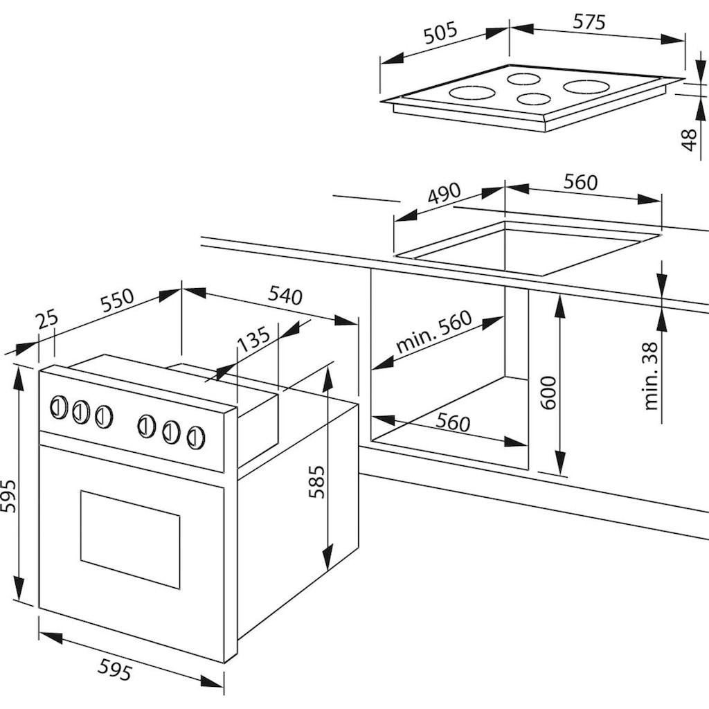 Amica Elektro-Herd-Set »EHC 12921 SM«, EHC 12921 SM, mit Backauszug, SteamClean-Funktion